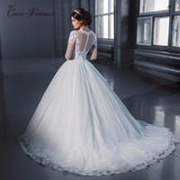 Wholesale Simple Elegant Dress Designs - C.V Arabic Muslim Elegant Long Sleeves Ball Gown Wedding Dress Custom Made Applique Beaded Design Bride lace wedding dresses W0049