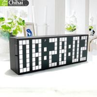 montres murales led achat en gros de-Digital Big Jumbo LED calendrier de compte à rebours température mondiale minuterie horloge murale murale horloge LED réveil