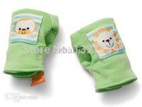 Wholesale Infant Cotton Finger Gloves - Wholesale-Newborn Baby infant Soft Cotton Anti-scratch Rattles Mittens Gloves Unisex 3 COLORS