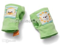 Wholesale Baby Mittens Scratch - Wholesale-Newborn Baby infant Soft Cotton Anti-scratch Rattles Mittens Gloves Unisex 3 COLORS