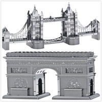Wholesale Triumph Models - DIY Metal Works Model Kits 3d Laser Cut Jigsaw Puzzle Toy Landmark Building France Arch of Triumph and London Tower Bridge