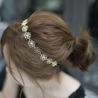 metal gül kafa bandı toptan satış-1 ADET Kızlar Hairband Metal Zincir Takı Kızlar Hollow Gül Çiçek Elastik Kafa Saç Braiders Araçları Aksesuarları