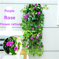 Wholesale Decorative Wall Baskets - Hot rose rattan hanging basket Simulation flower 6 color artifical real look decorative flower for weeding bedroom
