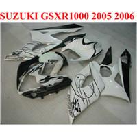 Wholesale Suzuki K5 Corona - Perfect fit for SUZUKI 2005 2006 GSXR 1000 K5 K6 fairing kit GSX-R1000 05 06 GSXR1000 white black Corona ABS fairings set QF62