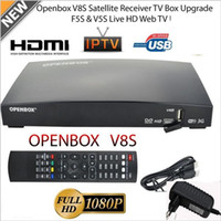 usb tv satelite al por mayor-OPENBOX V8S Full HD 1080P Receptor de Satélite Freesat TV Box EU-Plug HOT