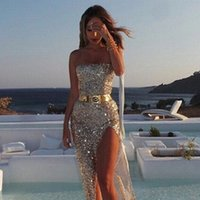 Wholesale Dresses Women S Bow Strapless - hot sale explosion models in Europe and America sexy and elegant sequined dress slit dress Bra silver gold black color