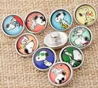 Wholesale diy snap buttons for sale - Group buy popular snoopy diy snap button mm snap button jelwery fit for bracelet mix glass noosa button button fashion acceesories