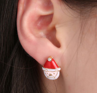 Wholesale Old Diamond Earrings - Christmas Gifts Stud Earrings Korean Fashion Fine Old Diamond Alloy Enamel Red Hat Earrings Drip 15mm 5g
