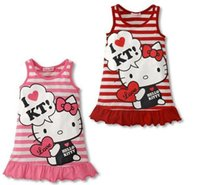 Wholesale Baby Cat Costumes - Cute Summer Minnie Children Princess Dresses Cat Sleeveless Baby Girl Child Dress Cartoon Print Pink Clothing Christmas New Year Costume