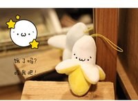 Wholesale- (5 PC / Los) Little Banana Emotion Symbol Rucksack Schmuck Telefon Anhänger Emoticon Plüschtiere kawaii nettes lächelndes Gesicht