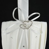 Gros-2015 expédition Flower Girl Fashion New satin ivoire perle Diamante Wedding Party Double Heart décoration panier gratuit