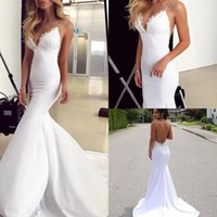 Wholesale sexy western tops - Charming Western Country Beach Wedding Dresses 2018 Spaghetti Lace Top Sexy Open Back Sweep Train Bridal Gowns Robe De Soiree Cheap Custom