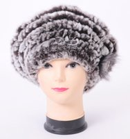 Wholesale men mink - Wholesale-2015 Top quality real rex mink rabbit fur hat Women's winter cap high quality winter women beret hat with small flower
