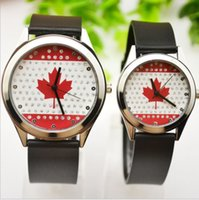 Wholesale Maple Leaf Watch - Canada Maple Leaf Dial Lover Watches Black Leather Casual High Quality Watches Quartz Watch for 2017 Christmas Gift