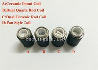 Wholesale Dual Coil Replacement Cartomizer - HOT!!! Cearmic Donuts skillet coils wax burner dual quartz coil ceramic coils skillet atomizer coil head replacement for skillet cartomizer