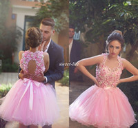 Wholesale Maternity One Shoulder Wedding Dress - Cute Pink Short Prom Dresses Ball Gown Tulle Handmade Flower Bead Backless Halter Mini 2016 Cheap 8th Grade Homecoming Wedding Party Dresses
