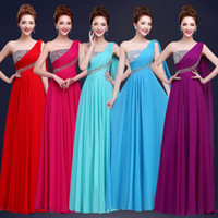 Wholesale Silver One Shoulder Evening Dress - Cheap Custom Made Bridesmaid Dresses 2017 A line Chiffon One Shoulder Bridesmaids Dress Sequins Aqua Sky Blue Prom Gowns Evening Party Dress