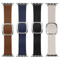Wholesale Leather Stainless Steel Clasps - Real Modern Buckle For Apple Watch Leather Band Strap Magnetic Closure Stainless Steel Clasp Adapter For iWatch Blue Black Pink Brown Sample