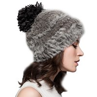 Wholesale Worm Gloves - Wholesale-Free shipping high quality beautiful Knitted Rabbit Fur thicking hat autumn and winter women's worm keeping hat & winter