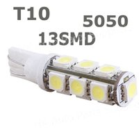 Wholesale W5w Warm - wholesale 50pcs White T10 13 SMD led 5050 13smd 13led car side Light Bulb 194 168 W5W LED Wedge Bulbs