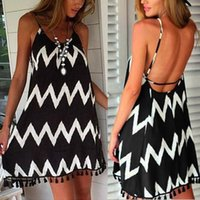 Wholesale Sexy Mini Beach Dresses - Hot Sales Women Ladies Casual Mini Dress Skirts Chiffon Strap Tassel Stripe Beach Summer Sexy QX186 Free Shipping