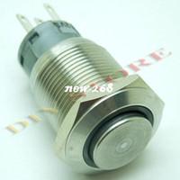 Wholesale 5a Push Switch - 10pcs Blue LED push Button 19mm 12V 5A Metal Switch High Flush free shipping drop shipping-10000699