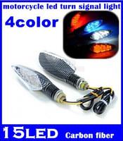 Wholesale Led Carbon Fiber Turn Signal - 10 pairs LED Indicator motorcycle led turn signal light black or Carbon fiber led strobe lights for motorcycles