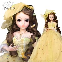 """Wholesale Ashley Fashion - Ashley 1 3 BJD SD Doll 60cm 18"""" jointed dolls Toy Action Figure Bjd + Makeup + Yellow Doll Dress For Child Toy Dolls DA008"""
