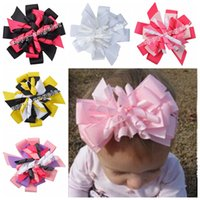 Wholesale Ribbon Layered Hair Bow - 50pcs M2MG Gymboree Baby Hairbows Layered Korker Curlies Ribbon Hair Bows clips Boutique Corker for Children Kids Headwear headbabd PD014