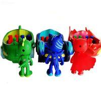 ingrosso auto scorrevoli giocattolo-3pcs bambole Pigiama 3 Posti a sedere diapositive personaggi Auto Pj catboy Owlette Gekko Mantello Maschera MusicSound Toy Action Figure Brinquedos