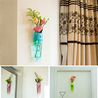 Wholesale wholesale wall vases - Fish Shaped Vase Wall Hanging Type Plastic Flower Vases For Home Living Room Decor For Multi Colors 6bq C