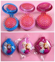 Wholesale Mini Comb Mirror - Frozen Anna Elsa Mini Combs Girls Make up air bag message Hair Brushing with Mirror Can Folded it up Children Kids Christmas Gift