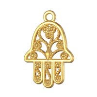Wholesale 18k Gold Hamsa Ship - Free shipping New Fashion Easy to diy 10pcs hamsa religion charm meaningful turkish jewelry jewelry making fit for necklace or bracelet