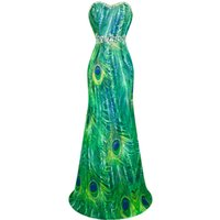 Wholesale Empire Column Sweetheart - Angel-Fashions Women's Strapless Sweetheart Peacock Feather Printing Beaded Rhinestones Chiffon Party Dresses Prom Gowns Green 039