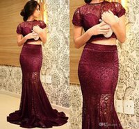 Wholesale Top Arabic Fashion Dress - Top Fashion Burgundy Evening Dresses Arabic Two Pieces Short Sleeve Floor Length Mermaid Lace See Through Sexy Prom Dress Party Formal Dress
