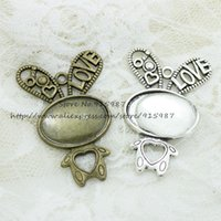 Wholesale Nose Studs Rabbit - 6set two color rabbit filigree cameo cabochon pendant setting 33*52mm(Fit 18*25mm dia) Cabochon Base + Clear Glass Cabochons 833