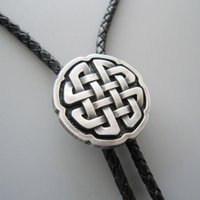 Wholesale Tie Pendant Leather - Men Leather Necklace Tie Clip Original Antique Real Silver Plated Celtic Cross Knot Bolo Tie Necklace BOLOTIE-WT070SL Brand New In Stock