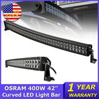 Wholesale 42 Inch Light Bar - OSRAM 400W 42 inch Curved LED Light Bar 4x4 Combo Beam Led Work Light Trucks Wagon ATV SUV 4WD DC12V 24V Offroad Led Light Bar outdoor light