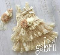 Wholesale Baby Girl Petti Lace Dress - Beige Petti Lace Dress Matching Baby Headband &Flower Sash Birthday Photo Prop Girls Dress 4set lot