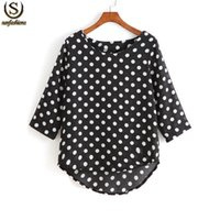 Tops été Stylistes Chine Polka Dot femmes Vêtements Retro Black ourlet plongeant mousseline High Low Mignon Chemisier