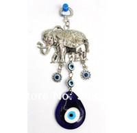Wholesale Hanging Elephants Decoration - 2016 Fashion Elephant Shape Charms Blue Evil Eye Pendant Jewelry Findings Hanging Wall Decoration 20pcs lot