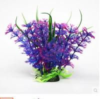 ingrosso paesaggistica senza erba-Spedizione gratuita 5pcs / lot acquario decorativo viola plastica pianta erba pesce serbatoio paesaggio decorazione