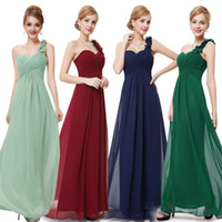 Wholesale More Bridesmaid Dresses - Elegant Fuschia Turquoise Bridesmaid Dresses Of Chiffon Backless One Shoulder Pleatsred Long Formal Dresses evening 2015 More Color New