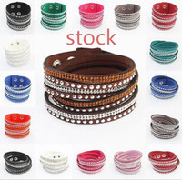 Wholesale Holiday Gift Wrapping - Rhinestone Leather Wrapped Women Bracelets Bling Crystal Statement Multilayer Braided Wristband Bangles 9 Colors Large Stocks Adjusted Size