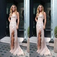 Wholesale Ligth Blue - New Arrival 2017 Ligth Pink Chiffon Prom Dresses Long Sexy Sweetheart Side Split Lace Formal Dresses Party Evening Wear Custom Made EN120513