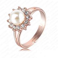 perlas genuinas para la boda al por mayor-Anillo de perlas blancas joyería de la boda Real 18K oro rosa plateado genuino elemento SWA flor de cristal austriaco anillos nupciales NR028
