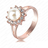 Wholesale Swa Silver - White Pearl Ring Wedding Jewelry Real 18K Rose Gold Plated Genuine SWA Element Austrian Crystal Flower Bridal Rings NR028