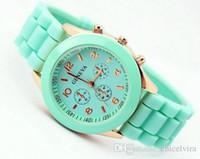 Wholesale Womens Brown Silicone Watch - 2017 Fashion Geneva silicone watch Mens Womens Wristwatches Rubber Quartz Watches for women ladies Dress Watch