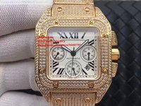 Best Edition Watch 42mm W20090X8 Full Diamond Pulsera 18k Yellow Gold Cronógrafo Working Swiss ETA 7750 Movimiento Automatic Mens Watches