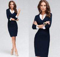 Wholesale Office Wear Fashion For Ladies - Women Dress Deep V Neck Patchwork Design 3 4 Sleeve New Fashion Causal Dress For Office Work Female Ladies bandage Dress ZJ1179